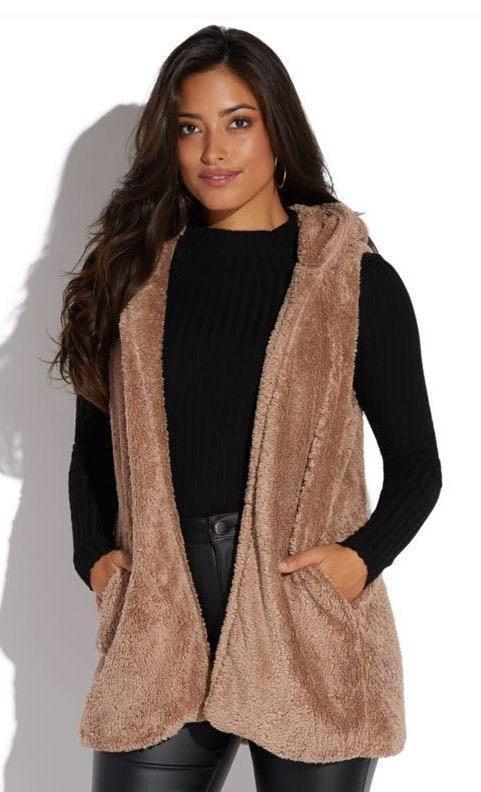 b15c4649a181b5 Dottie Couture Fuzzy Hooded Vest Tan