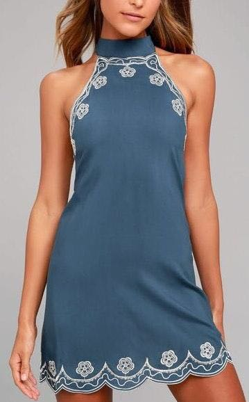 Lulus Roam on denim blue embroidered halter dress