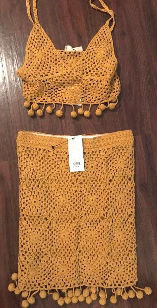 American Threads Two Piece Mustard Crochet Set