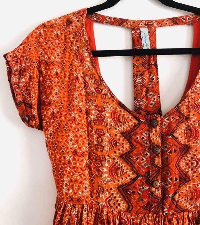 Free People Orange Sundown Babydoll Dress
