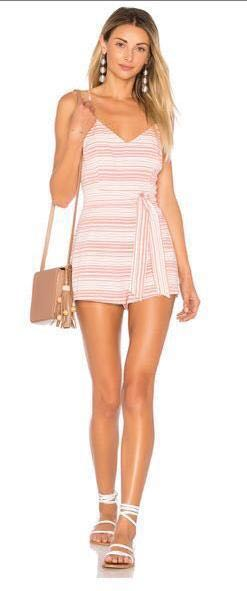 Show Me Your Mumu Salmon Striped Romper