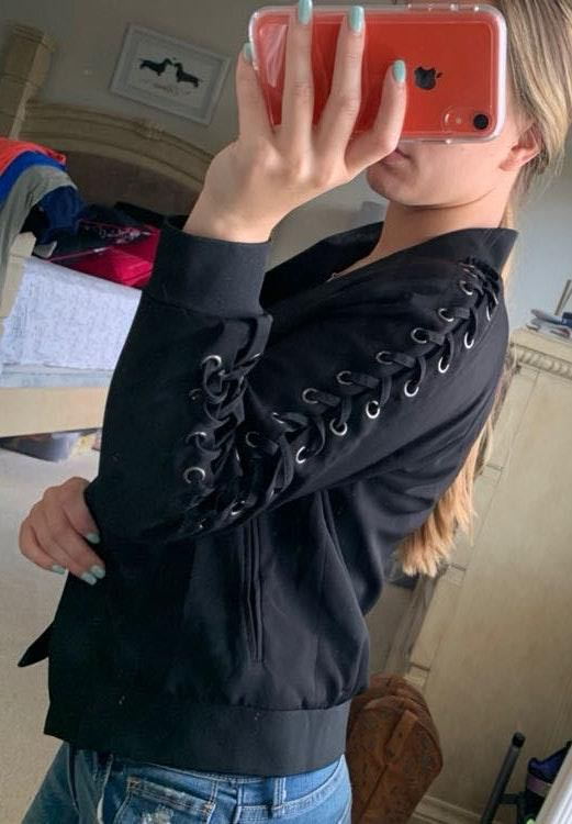 Lea&violia Lace Up Black Jacket