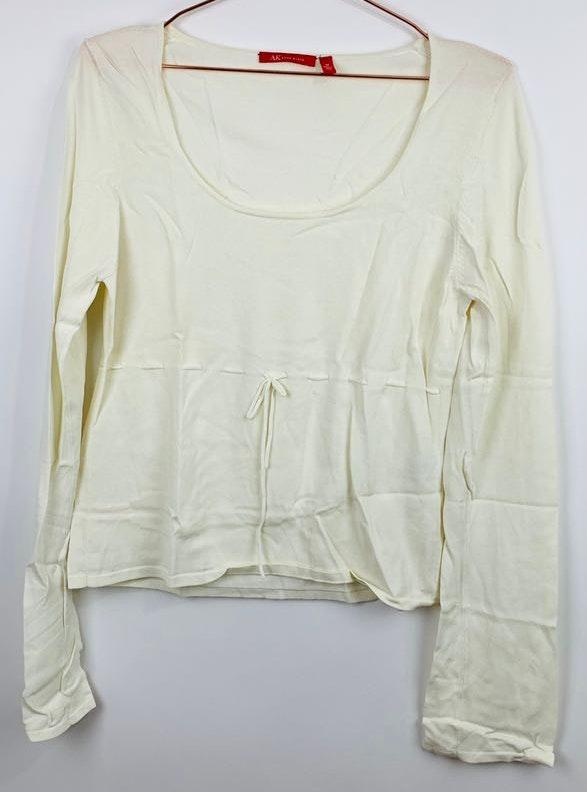 Anne Klein Medium Front Tie Long Sleeve Ivory Sweater Top