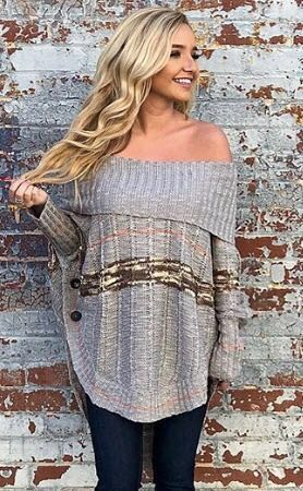easel Off the Shoulder Sweater
