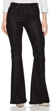 Hudson Jeans Black Lace Up Flare Jeans High Rise