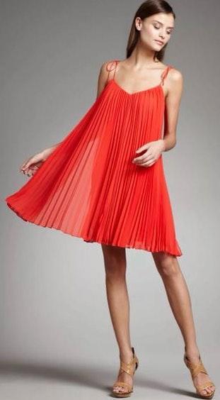 Halston Heritage Red Pleated Mini Dress
