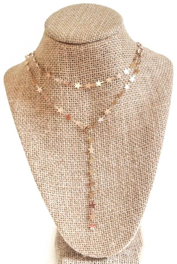 Beaded by Meg Gold Star Y Necklace