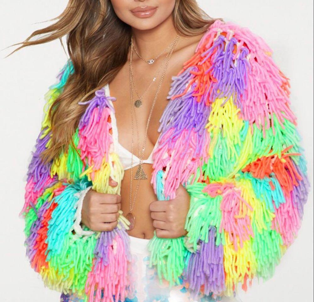 Pretty Little Thing Colorful Shag Jacket