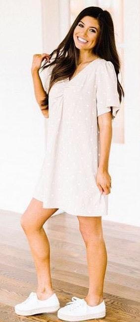 These Three Boutique Beige/White Polka Dot Dress