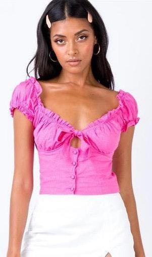 Princess Polly Hot Pink Crop Top