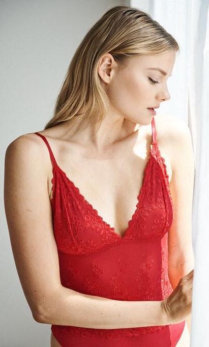 Aritzia Red Lace Bodysuit