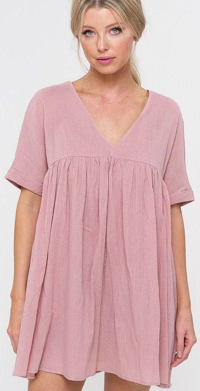 Listicle Pink Babydoll Swing Dress
