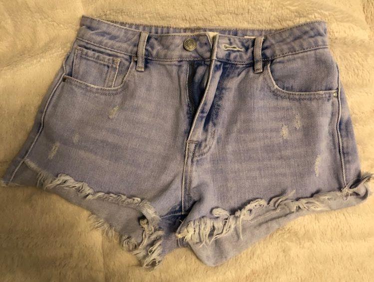 Pacsun High Rise Fringe Jean Shorts