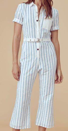 For Love & Lemons Hermosa Striped Eyelet Jumpsuit