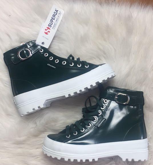 Superga X Alexa Chung Patent Leather High Top Boots