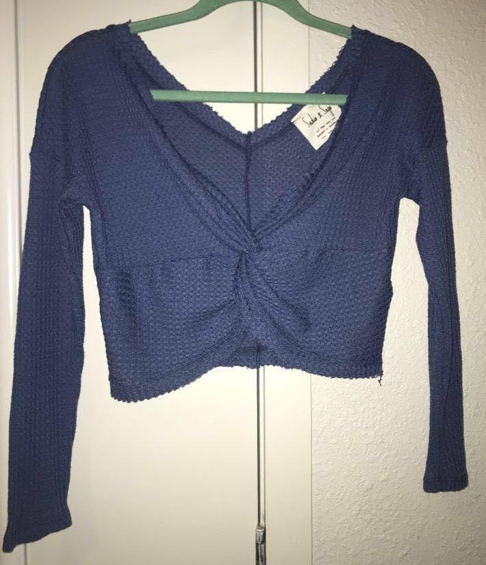 Sadie and Sage Blue Crop Sweater
