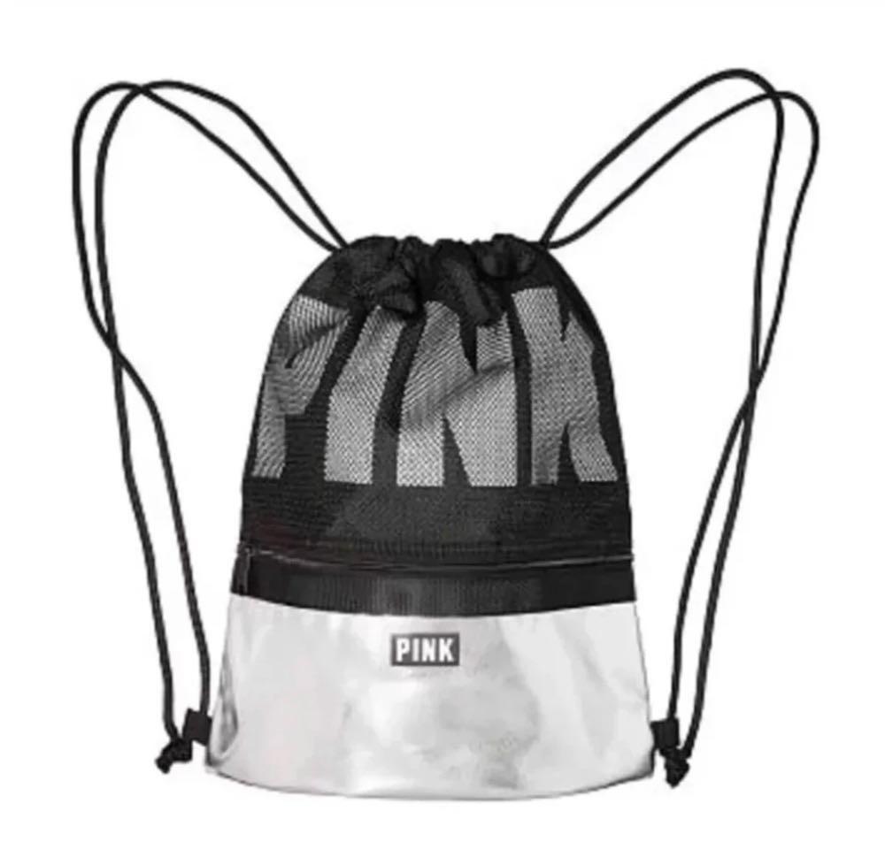 ea53371d3e06f PINK Victoria's Secret Black And Silver Drawstring Backpack