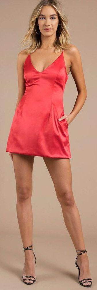 Tobi Red Satin Dress