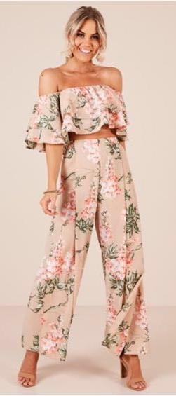 Showpo ***SOLD***Beige Floral Two Piece Pant Set