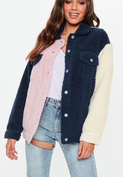 Missguided Multi Color Fleece Jacket