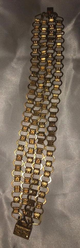 "Vintage Bright Gold Quad Chain 8"" Bracelet"