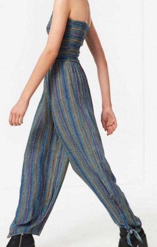 Urban Outfitters Strapless Striped Jumpsuit