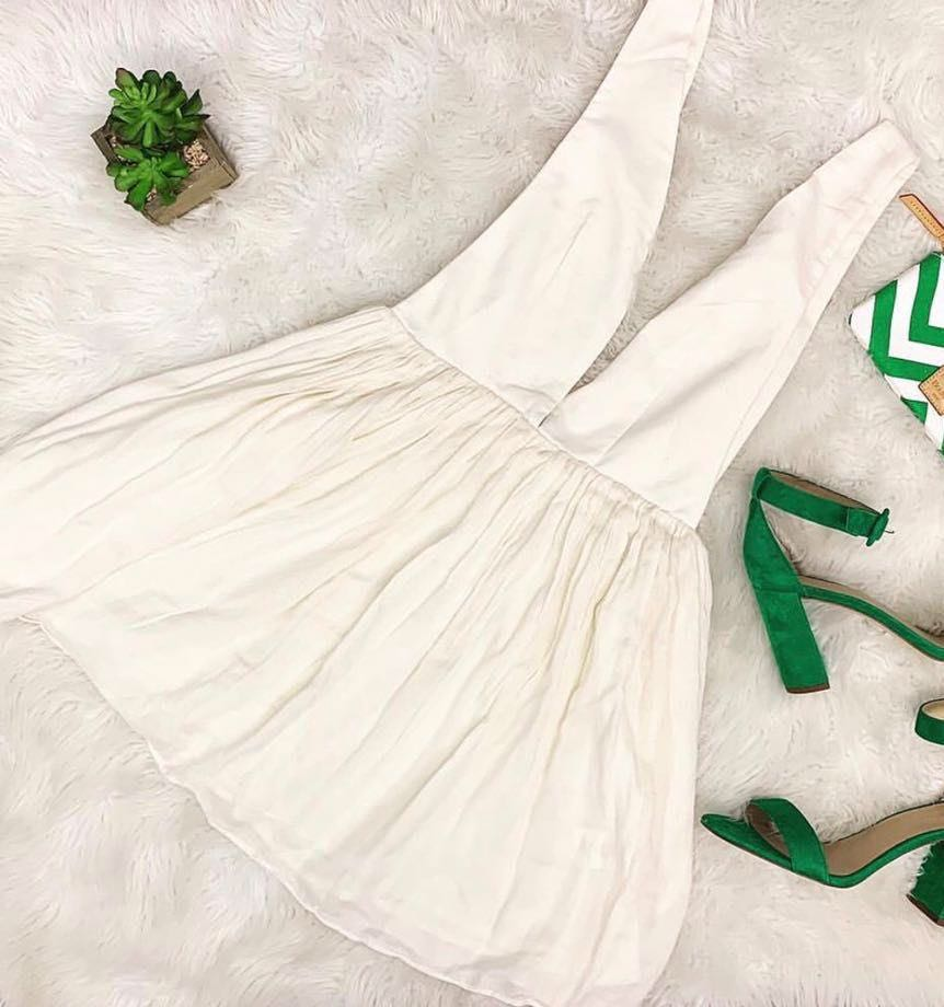 Tobi White Deep Plunge Dress