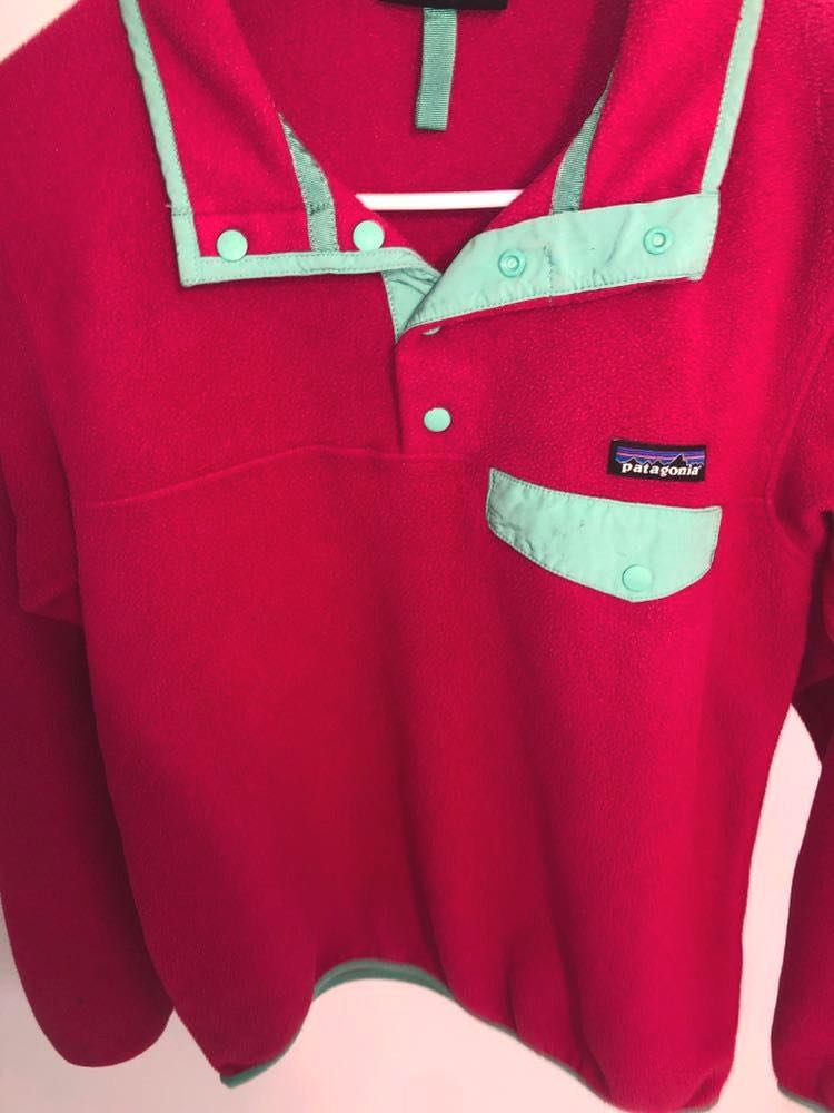 Patagonia Pink And Green Fleece Pullover