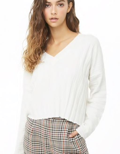 Forever 21 Cropped White Sweater