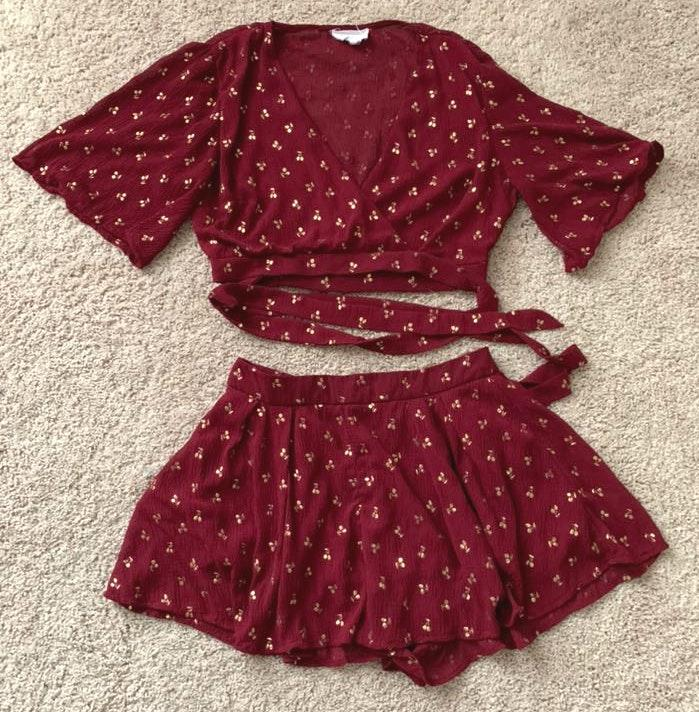 Red Two Piece Outfit