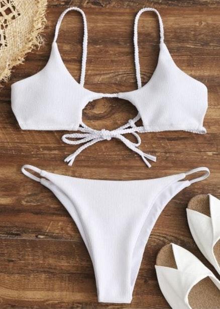 Zaful White Cutout Bikini
