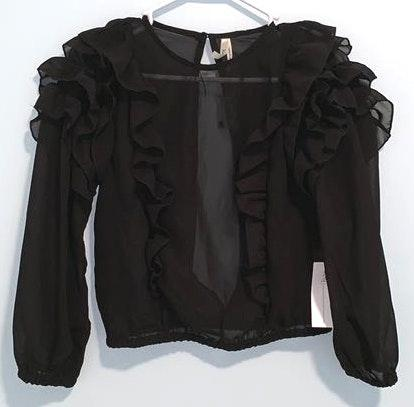 Truth NYC Black Ruffle Mesh Crop Top with Sleeves