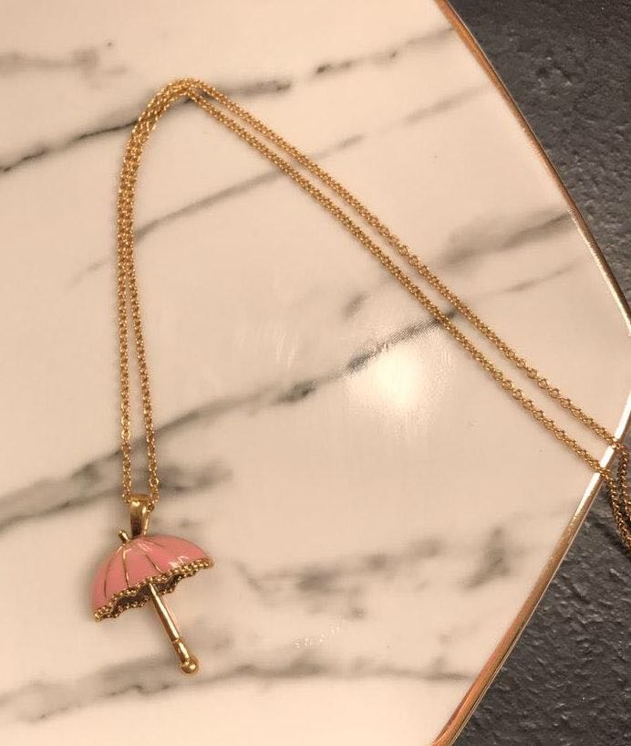 Pink Umbrella Pendent Necklace