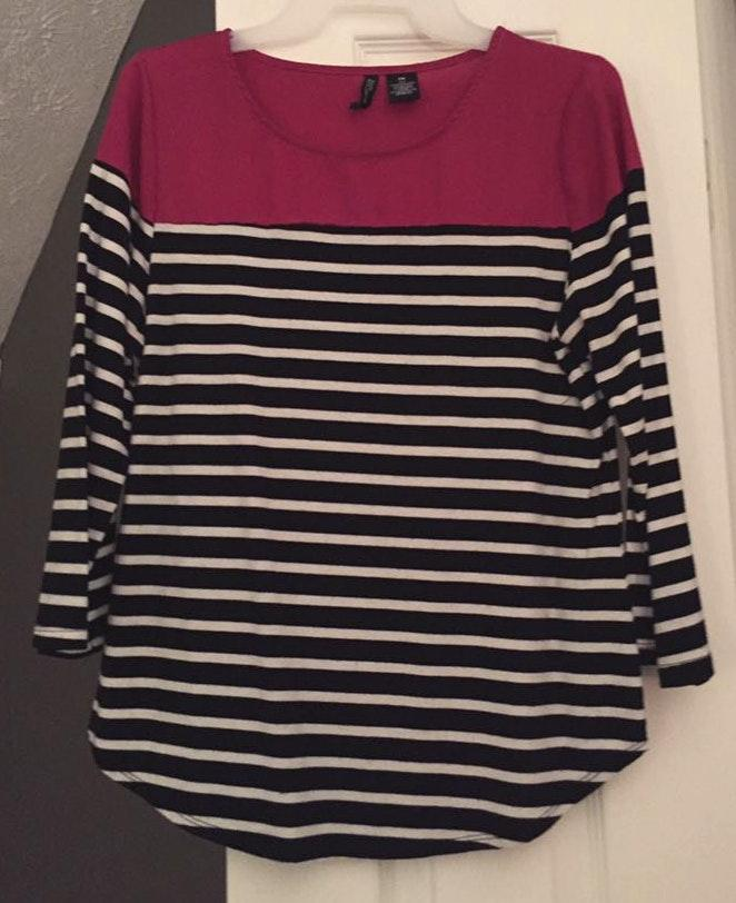 New Direction black pink & white striped shirt