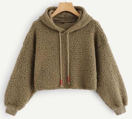 SheIn Brown Sherpa Cropped Sweater