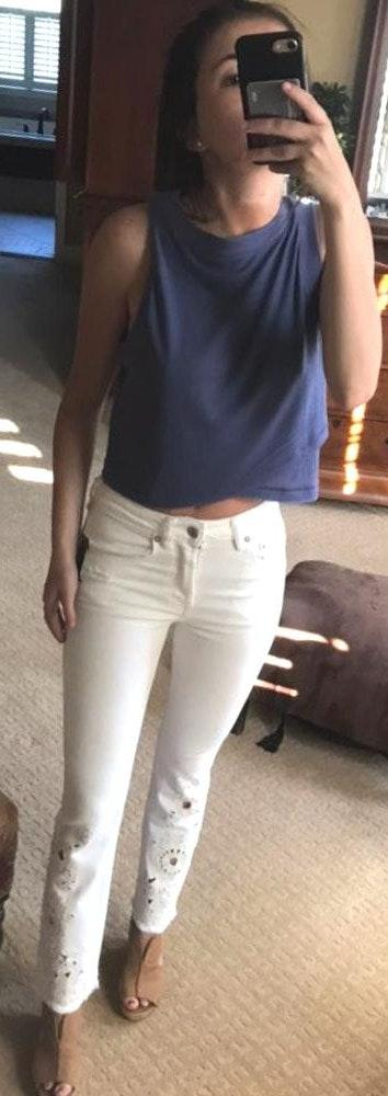 Free People White Cutout Jeans
