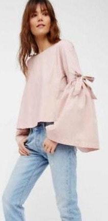 Free People Pink Bell Sleeve Top