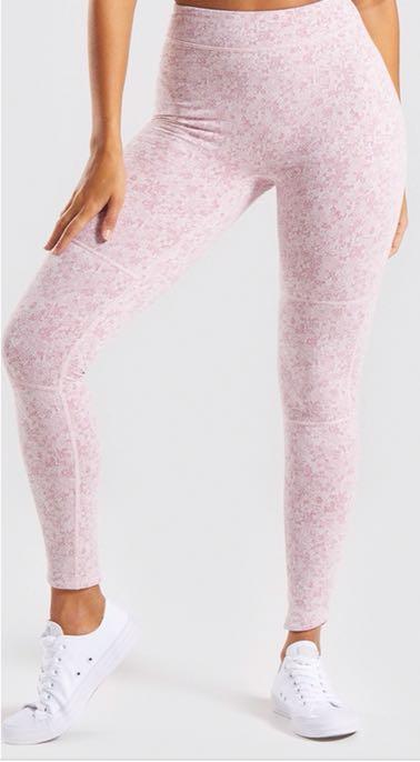 Gymshark Fleur Texture Leggings - Dusky Pink Marl