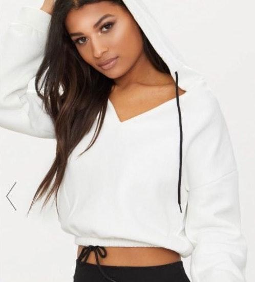 Pretty Little Thing cream/white cropped hoodie