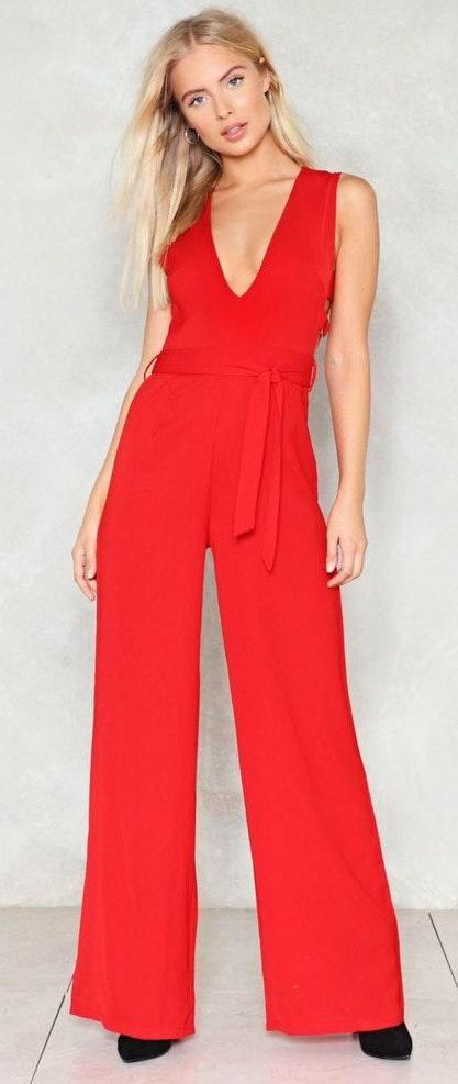Nasty Gal Red Jumpsuit