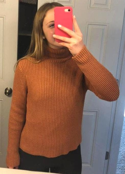 Don't Ask Why Orange Ribbed Turtleneck Sweater