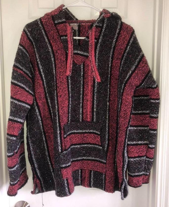 Crochet Black And Pink Hoodie