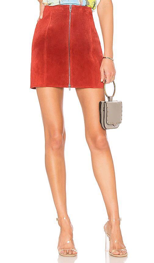 BLANK NYC Suede Zipper Skirt