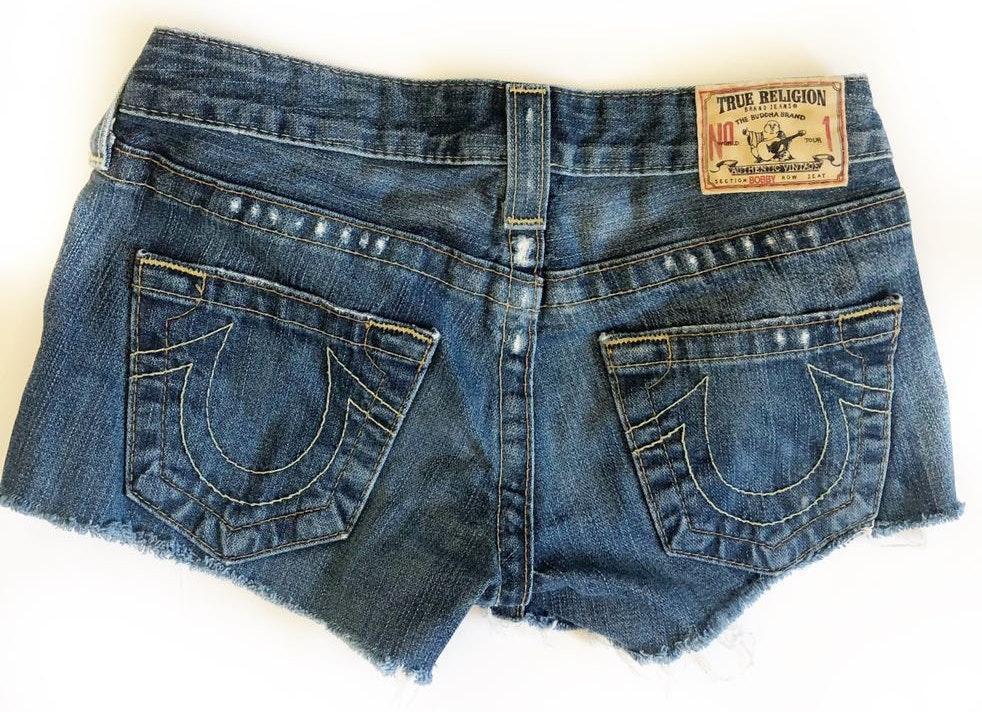 True Religion Bobby Side-winder Denim Cut Off Shorts