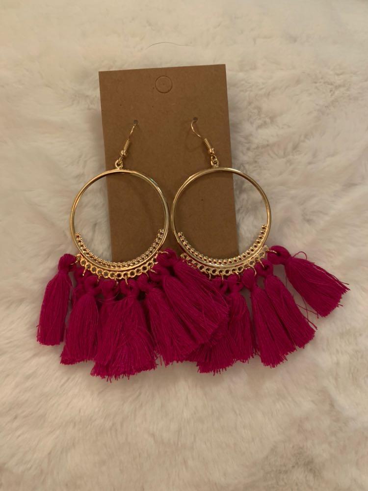 Dark Pink Tassel Boho Earrings