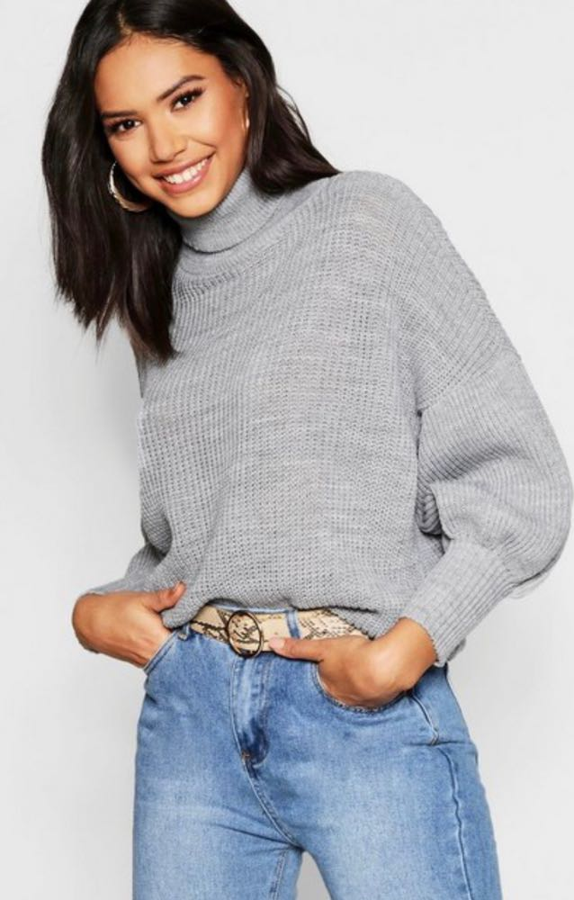 617f83a0013 Boohoo Cropped Grey Turtleneck Sweater