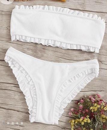 Romwe White Ruffle Bikini