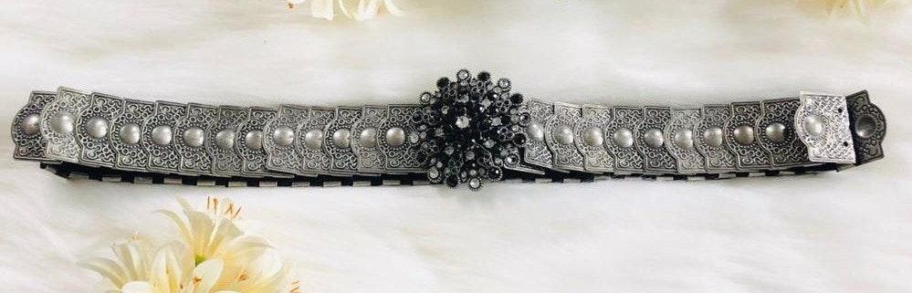 Vintage rhinestone gray elastic 90s belt