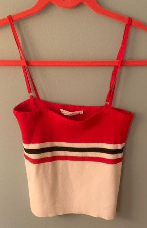 American Threads Red/white/black Crop Top