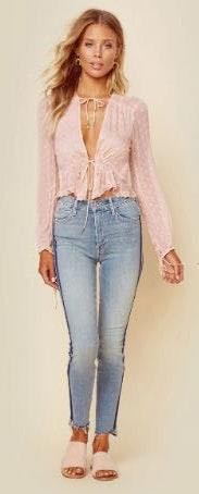 Light Pink Tie Front Blouse